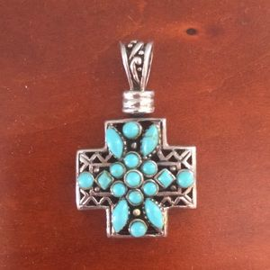 925 Silver and Turquoise Cross